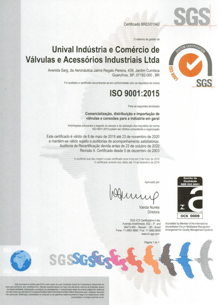certificado de garantia ISO Unival