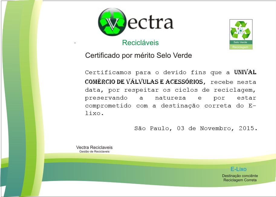 certificado de destinação consciente e reciclagem correta